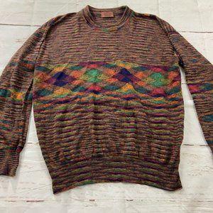 Missoni cashmere high neck rainbow knit sweater